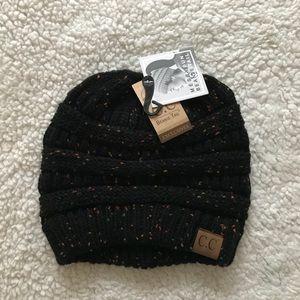 Accessories - CC Black Confetti Messy Bun Beanie